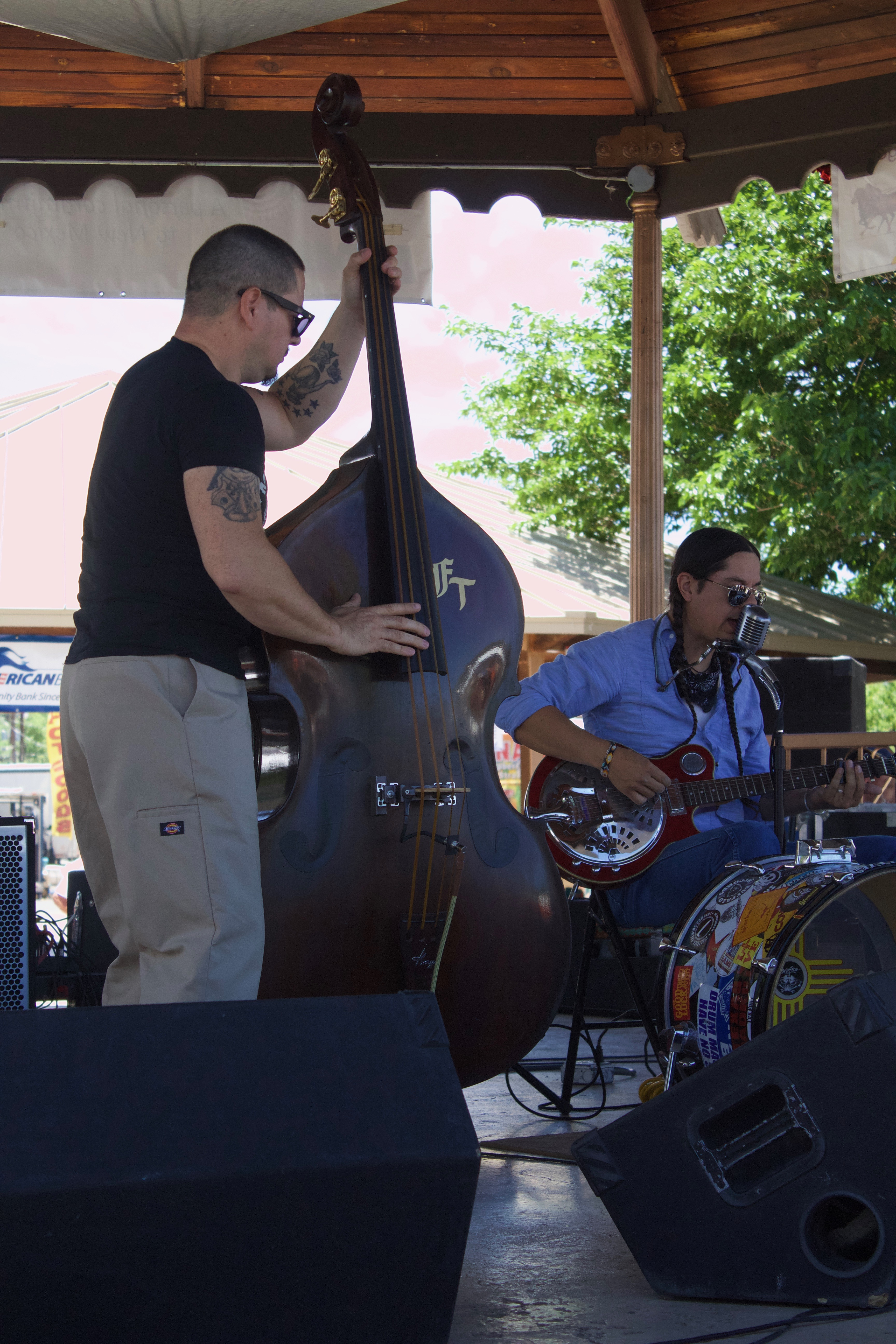 (Press Staff Photo by C.P. Thompson)  C.W. Ayon and another musician perform during the 23rd annual Blues Festival last year at Gough Park. The festival kicks off today and will continue into Sunday.