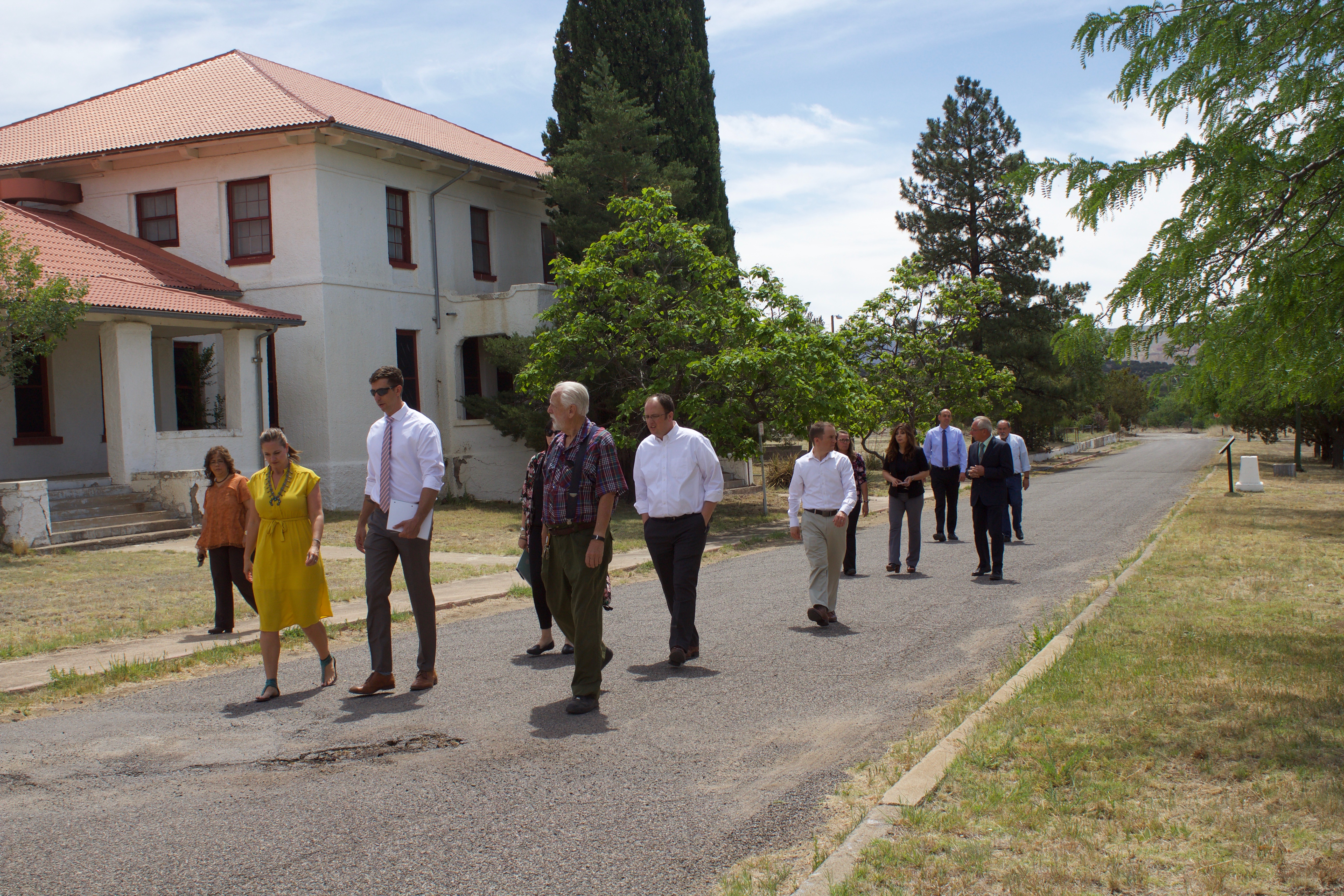 (Press Staff Photo by C.P. Thompson) State and local officials toured Fort Bayard on Monday following a meeting where the village of Santa Clara and state agreed to enter a lease for a few buildings at Fort Bayard.