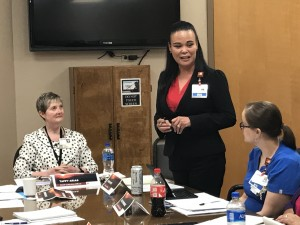 (Press Staff Photo by Geoffrey Plant) Gila Regional CEO Taffy Arias (left) and former interim Chief Nursing Officer Kelly Rodriguez (right) introduced new Chief Nursing Officer Rose Lopez to the Gila Regional board of trustees Friday. The hospital lost longtime Chief Nursing Officer Peggy White earlier this year when she quit without notice.