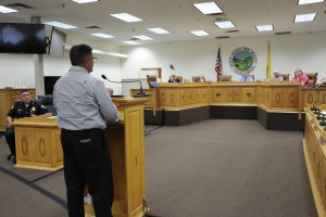 (Press Staff Photo by Geoffrey Plant)  State Sen. Gabriel Ramos addresses the Silver City Town Council Tuesday as Police Chief Fred Portillo looks on. Ramos urged councilors to pass an ordinance allowing off-road sport vehicles on Silver streets. Council passed the ordinance in a 3-1 vote.