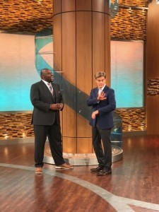 """Dr. James """"Butch"""" Rosser stands alongside Dr. Mehmet Oz on the New York City set of """"Dr. Oz"""" during one of his appearances on the show. (Courtesy Photo)"""