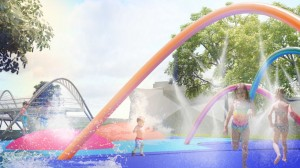 (Courtesy Photo) Renderings prepared by the University of New Mexico of a possible splash park in an expanded Gough Park.