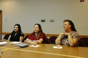 (Press Staff Photo by Geoffrey Plant)  Liz Trujillo, bureau of elections director for Grant County, Grant County Clerk Marisa Castrillo and Chief Deputy Clerk Connie Holguin led an informal candidate 101 training event on Saturday at the Bayard Community Center. The November 2019 local election is a new election and the Clerk's Office fielded questions from voters and potential candidates at the forum, which was put on by the Daily Press.