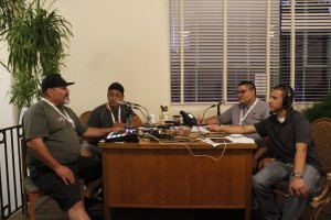 (Press Staff Photo)  Chris Marrufo, Randy Villa, Adam Amador and C.P. Thompson talk sports at the Daily Press building on Tuesday. The Daily Press will be kicking off live varsity football broadcasts beginning this week.