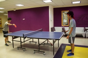(Press Staff Photo by C.P. Thompson)  Gerardo and Eduardo Ocon play ping pong at Western New Mexico University on Thursday. WNMU students go back to class on Monday, which is when Aldo Leopold Charter School high school students will be officially moving into Ritch Hall.
