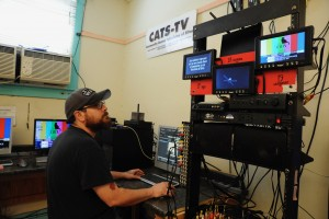 Ben Beltron, executive director of  Community Access Television of Silver, in the editing room of the station in downtown Silver City. (Press Staff Photo by Geoffrey Plant)