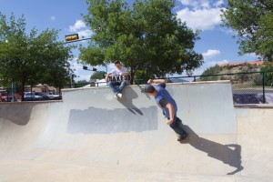 Gino Vannatter skates past Brendan Thurnherr at the Silver City Skate Park last week. The current version of the skate park was built in 2008. (Press Staff Photo by C.P. Thompson)