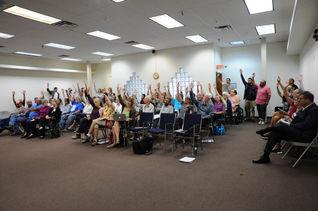 At Thursday's Grant County Commission meeting, Commissioner Harry Browne asked for a show of hands from people in the audience who support the introduction of federal legislation that would designate parts of the Gila River as protected under the Wild and Scenic Rivers Act.  In a 4-1 vote, the commission approved a resolution expressing the county's support for legislation on Wild and Scenic designation for parts of the Gila River. (Press Staff Photo by Geoffrey Plant)