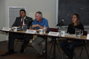 (Press Staff Photo by Geoffrey Plant) The candidates for the District 5 position on the Silver Consolidated Schools Board of Education are, from left, Ricky Villalobos, incumbent Mike McMillan, and write-in candidate Tasha Donaldson