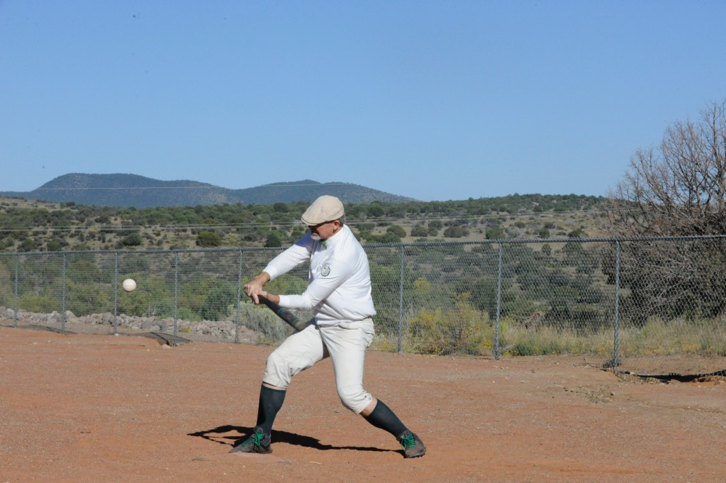 "(Press Staff Photo by Geoffrey Plant)  Brad ""Dusty"" Bittorf of the Tucson Saguaros about to crack a single-base hit during an exhibition game between the Arizona Territories Vintage Base Ball League pickup team — the Bisbee Black Sox — and the local Fort Bayard Veterans team. at Bataan Park on Saturday."
