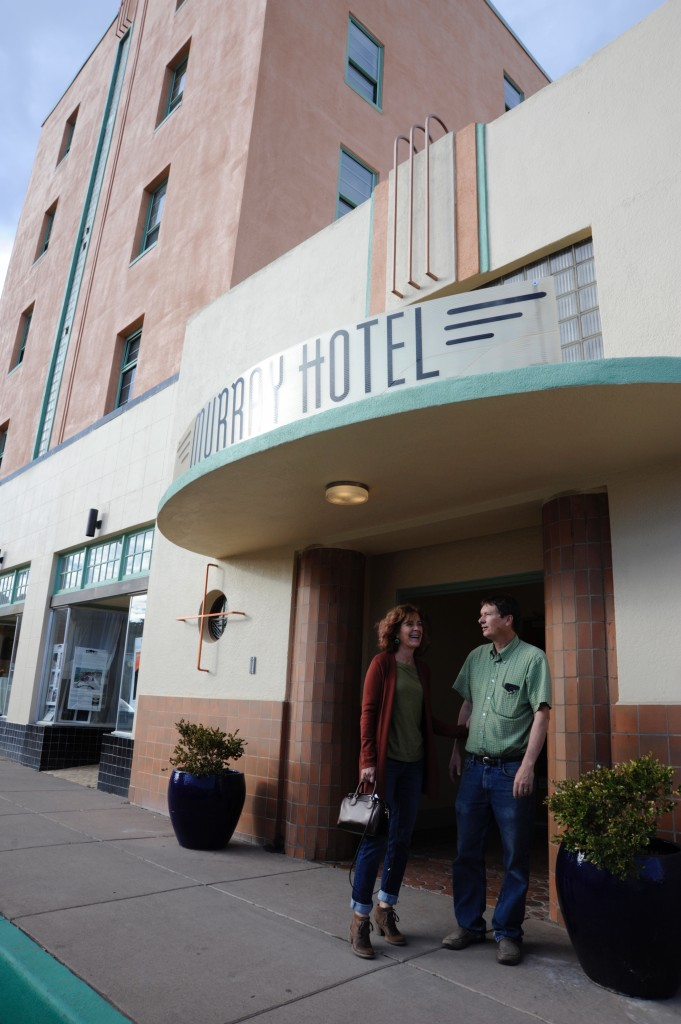 "(Press Staff Photo by Geoffrey Plant)  Christine Rickman and her husband, Michael Metcalf, became co-owners of the historic Murray Hotel last Wednesday. They want to bring back the ""heyday"" of the streamline deco-style hotel, located at 200 W. Broadway."