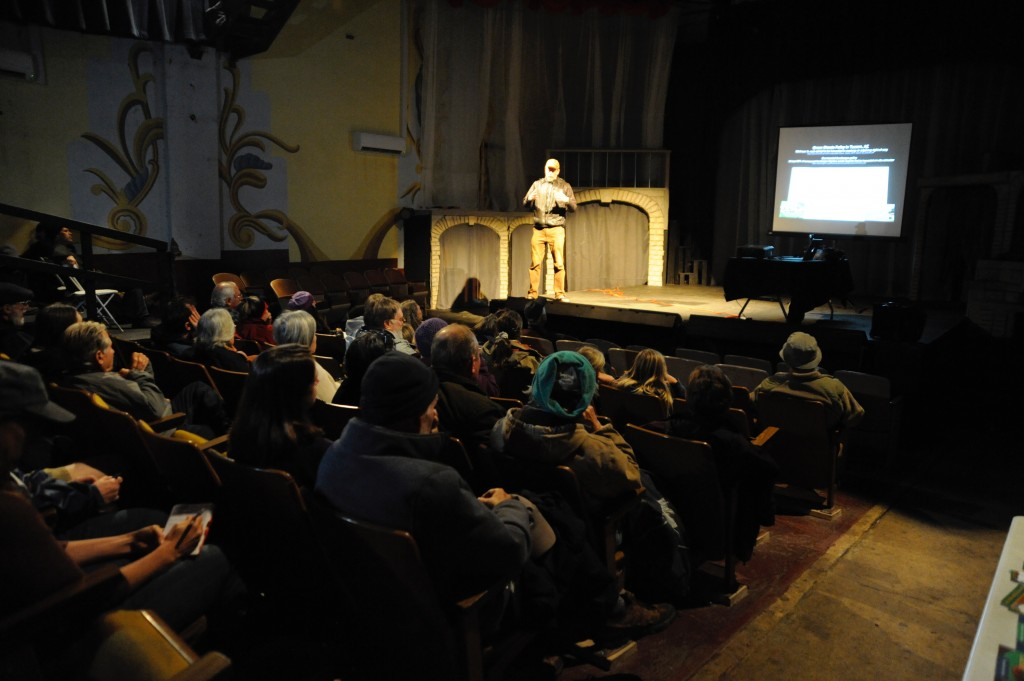 (Press Staff Photo by Geoffrey Plant)  Water harvesting expert Brad Lancaster drew a crowd of about 65 people to El Sol Theater on Tuesday night for a presentation on how to harvest and utilize storm runoff and rainwater. The event was put on by the Wild Resilience Collective.