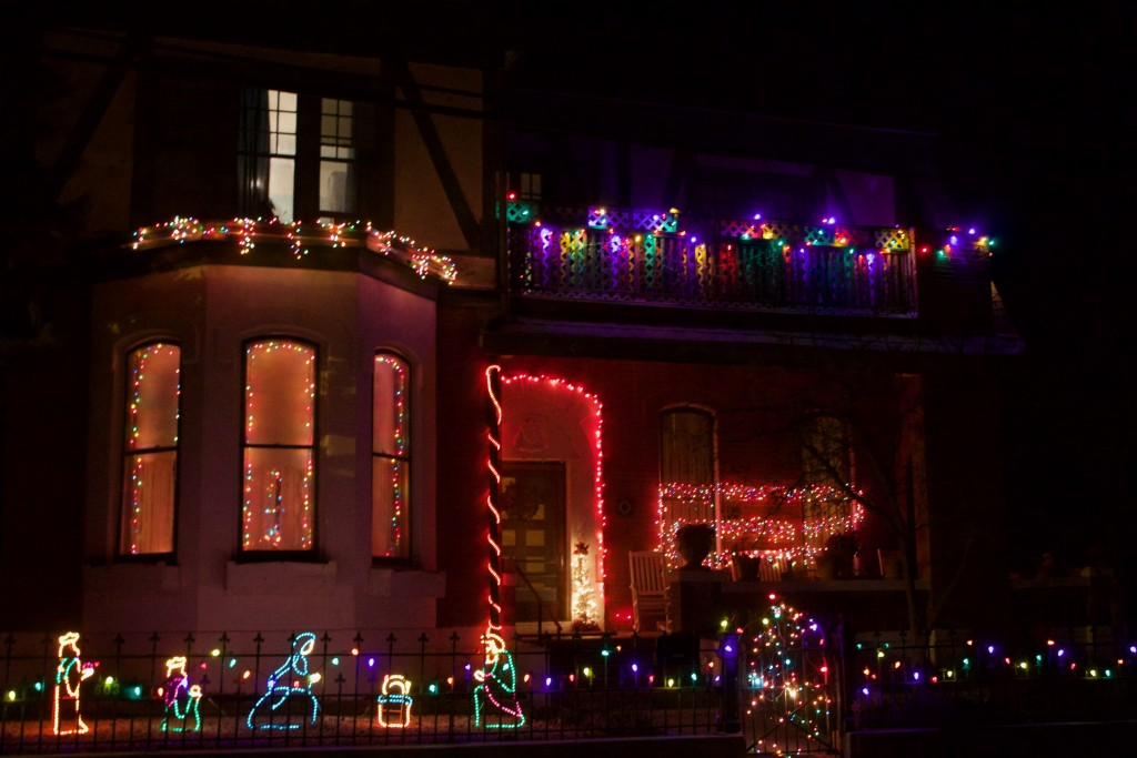 A house is decorated with Christmas lights Tuesday night to spread the holiday joy.