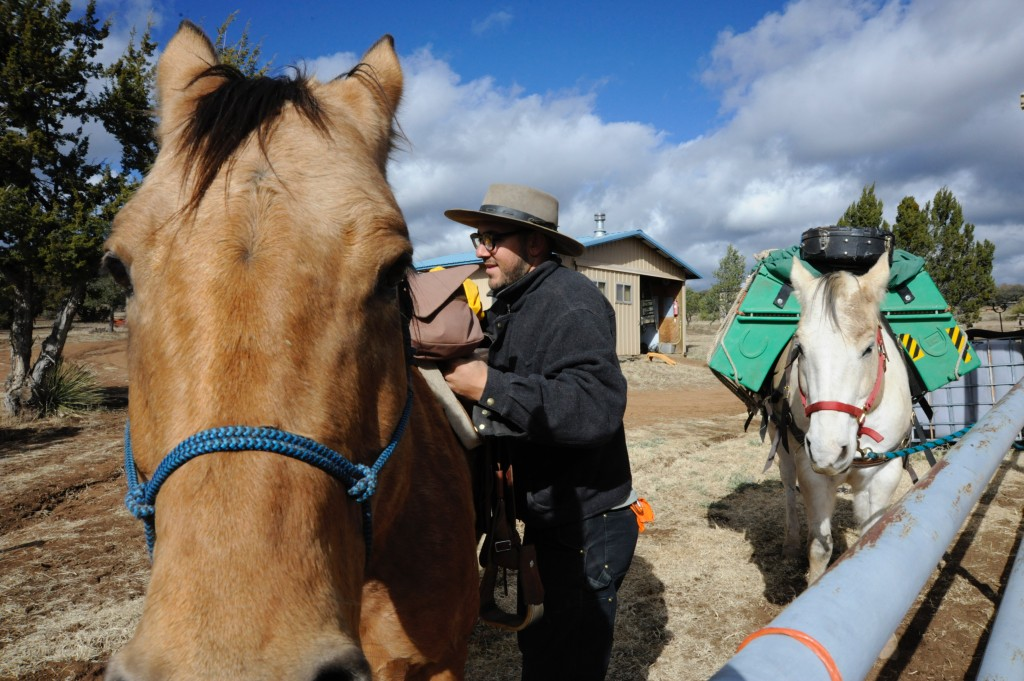 (Press Staff Photo by Geoffrey Plant) Gideon Irving and his horses, Troubadour and Augustus, are on a cross-country music tour of the United States, and are currently staying in Arenas Valley.