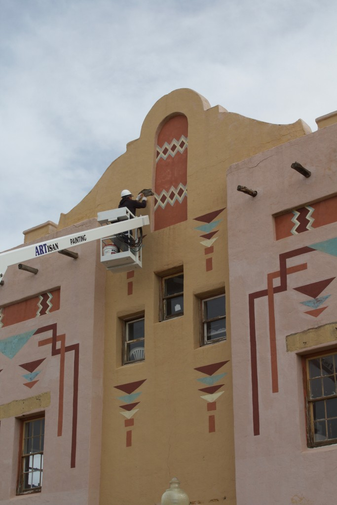 The El Sol Theatre gets a facelift on Monday. The theatre is getting patchwork done and prepping for a repaint.