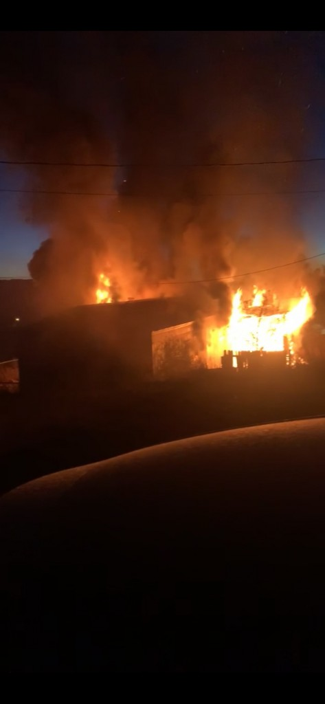 (Courtesy Photo) A home on Pheasant Drive burns Thursday morning. There were six firefighters from Silver City, and six firefighters from Tyrone Volunteer Fire and Rescue responded. Silver City Fire Marshal Kylle Marshall said that fire is suspicious, which means it is a possible criminal act.