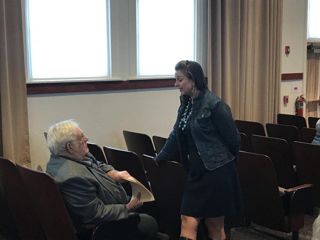 (Press Staff Photo by C.P. Thompson) District 38 state Rep. Rebecca Dow and Hurley Mayor Ed Stevens talk at Western New Mexico University's Light Hall on Tuesday. The Prospectors' Legislative Communication Forum brought together leaders from municipalities and public schools, health care providers and others to discuss their needs, ahead of the 2020 legislative session.