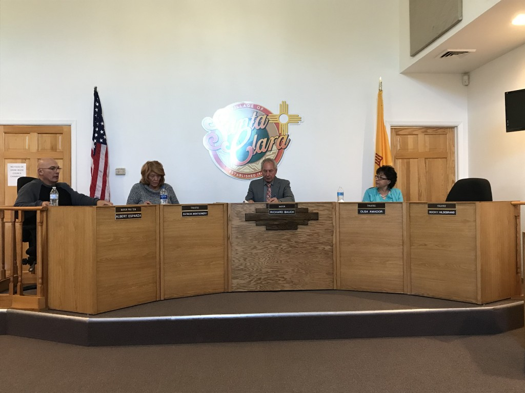 """To the right is the empty seat on which Trustee Harry """"Rocky"""" Hildebrand used to sit. The village of Santa Clara trustees had their first meeting Thursday since Hildebrand passed away Dec. 1. (Press Staff Photo by C.P. Thompson)"""