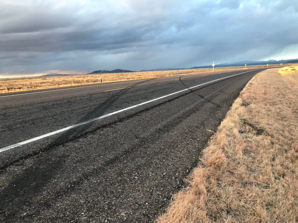 (Press Staff Photo by C.P. Thompson)  Skid marks along U.S. 180 from a semi crash that happened Monday. The driver of the semi suffered minor injuries.