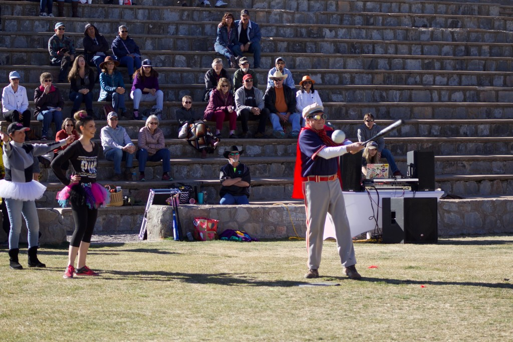 (Press Staff Photo by C.P. Thompson) Silver City Mayor Ken Ladner swings at a mush ball at Western New Mexico University's Old James Stadium on Saturday. Behind him are Sammi Jo Zunich and Billie Turrieta. Saturday featured several events, celebrating Territorial Charter Day.
