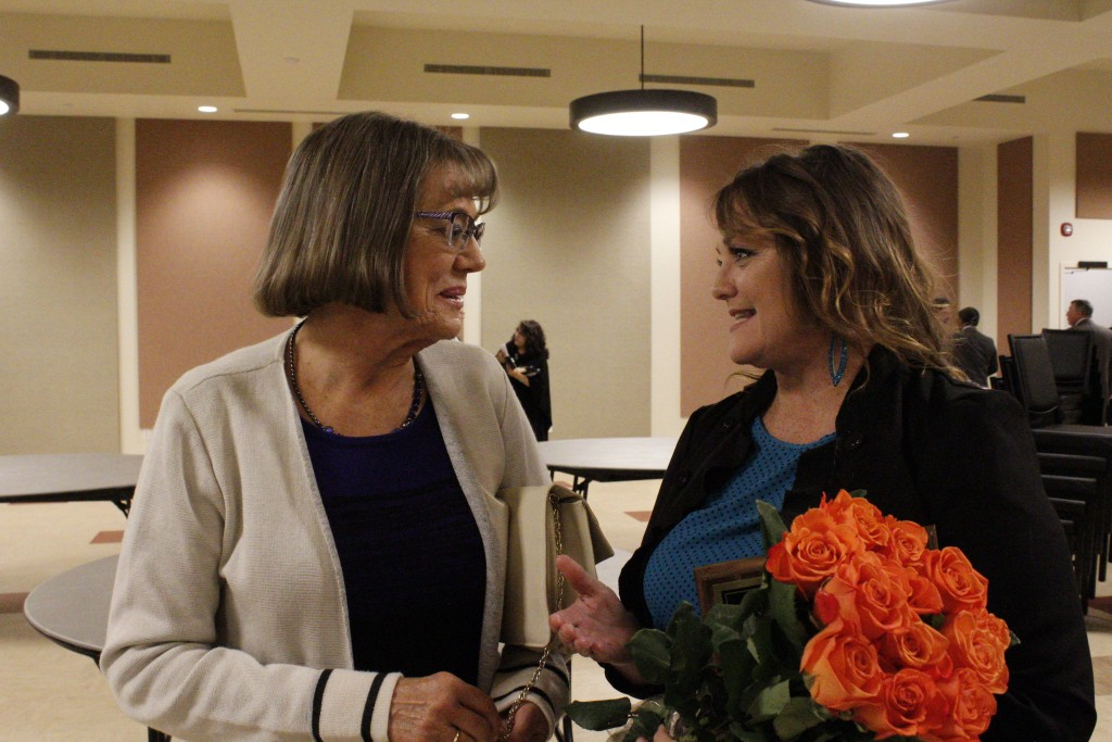 (Press File Photo by C.P. Thompson) Linda K. Jones Humanitarian of the Year Dorothy Pfeifer and Volunteer of the Year Kim Clark chat following the 2018 Silver City Grant County Chamber of Commerce Awards Banquet. The 2019 awards banquetis set for March 26.