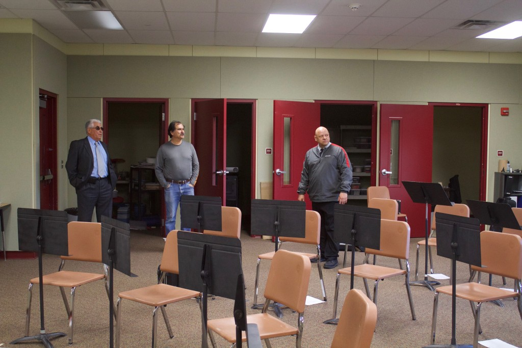 (Press Staff Photo by C.P. Thompson)  Cobre Superintendent Robert Mendoza, board member Gilbert Guadiana and Snell Middle School Principal Pat Abalos stand inside the band room that will be used by sixth, seventh and eighth grade. There has been discussion about possibly moving sixth grade to the middle school.