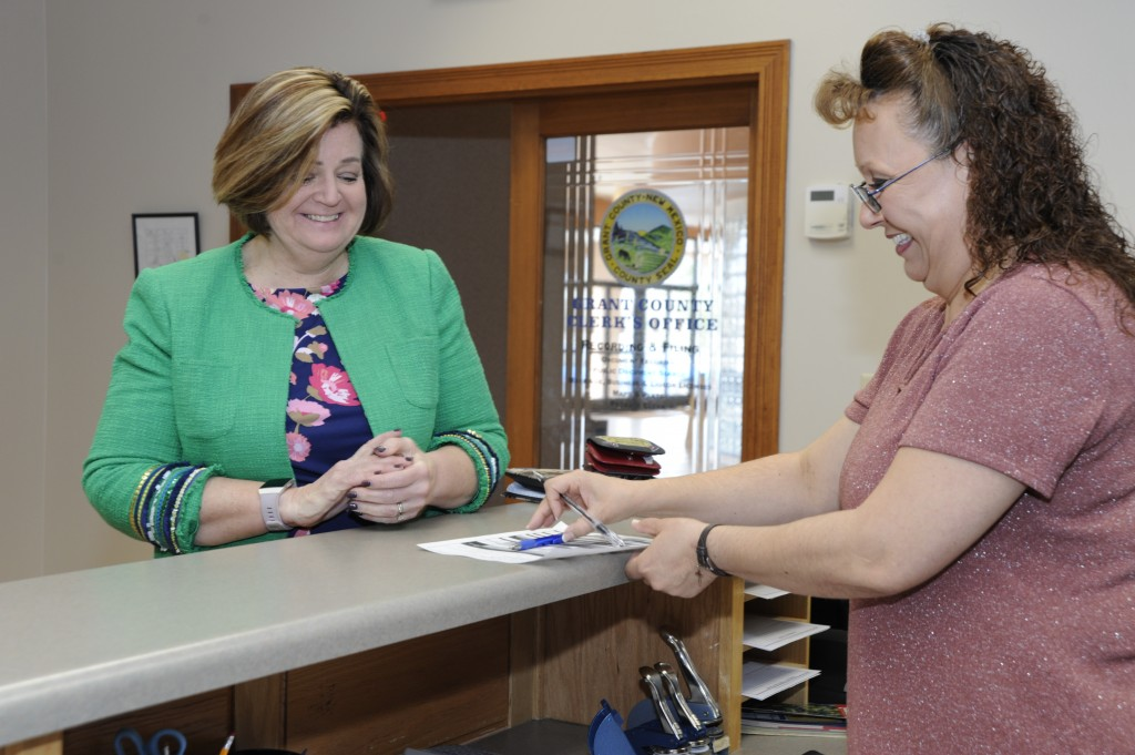 Democratic write-in candidate Karen Whitlock files for candidacy at the Grant County Clerk's office on Tuesday, March 17. (Press Staff Photo by Geoffrey Plant)