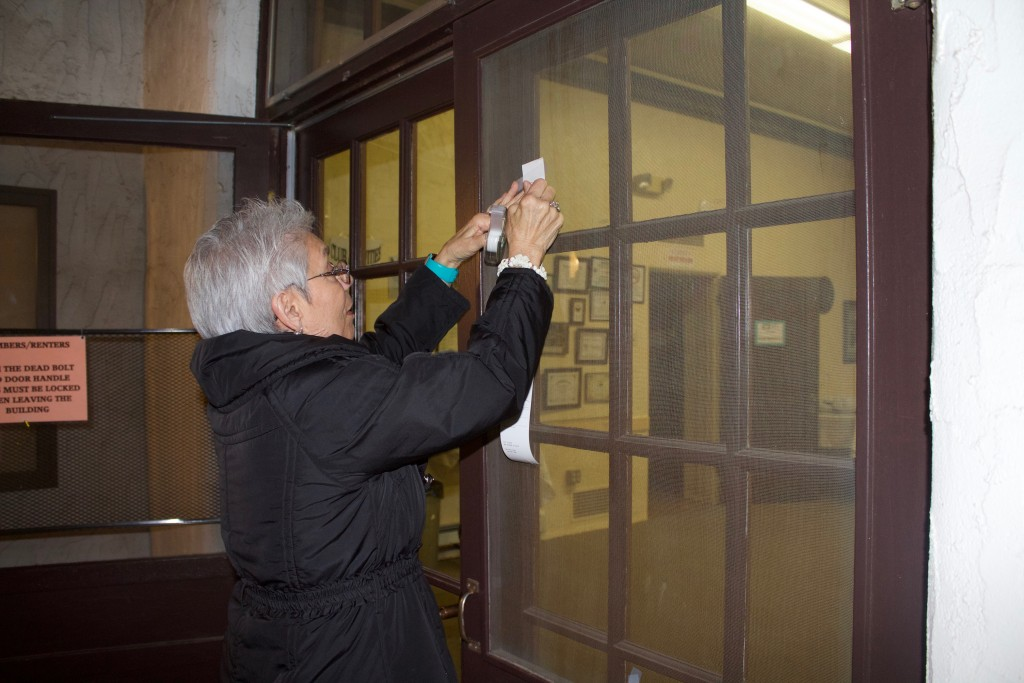 (Press Staff Photo by C.P. Thompson)  Julia Biglin posts the election results at the Silver City Woman's Club on Tuesday. District 3 Councilor Jose Ray Jr. and District 1 Councilor Cynthia Ann Bettison ran unopposed.