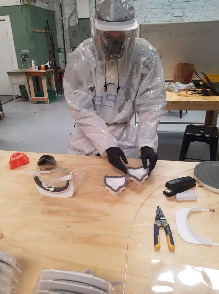 (Courtesy Photo) Future Forge chair Stephen Lindsey models a piece of PPE created at the downtown makerspace. The 3D-printed equipment is being furnished to Gila Regional Medical Center and other health care providers on the front lines of the fight against COVID-19.