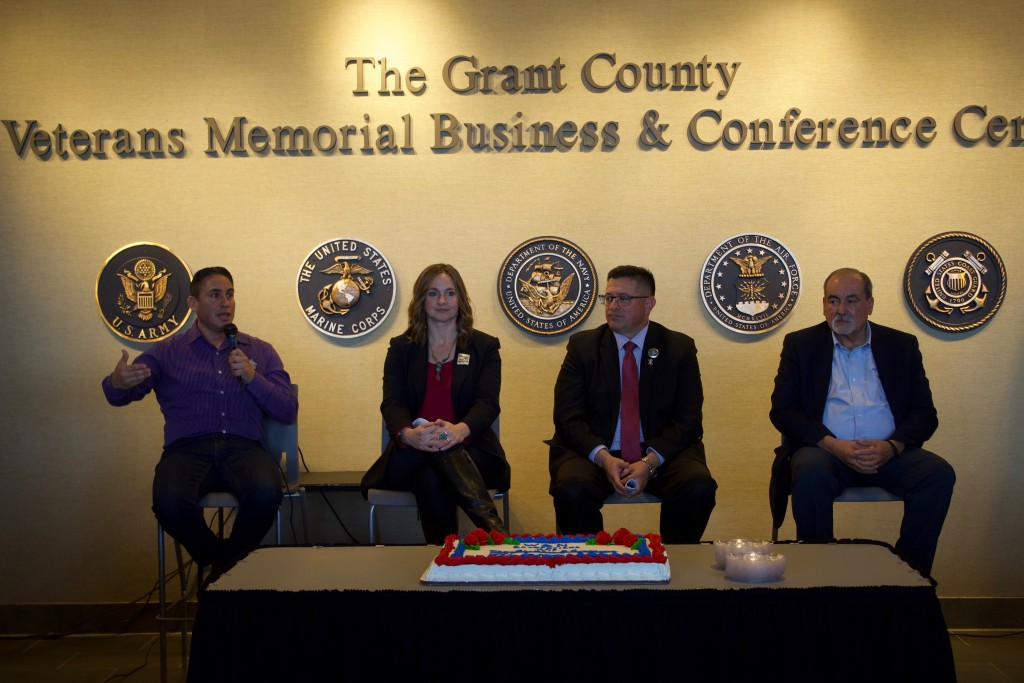 (Press Staff Photo by C.P. Thompson)  Lt. Gov. Howie Morales and legislators Rebecca Dow, Gabe Ramos and Rudy Martinez discuss what happened during this year's legislative session at the Grant County Veterans Memorial Business and Conference Center earlier this month. The legislators talked about some of their bills that were passed and signed.