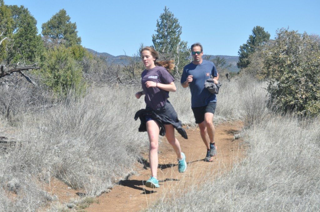 (Photo by Aaron Rogers for the Daily Press) Lindsey Green and her father, Ron, enjoy an afternoon run on the Dragonfly Loop Trail in Arenas Valley.