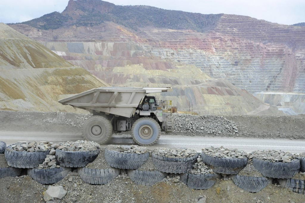 A Freeport-McMoRan worker drives a haul truck at the Chino copper mine on March 13. (Press Staff Photo by Geoffrey Plant)