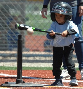 (Daily Press File Photo by Dean Thompson) While Little League International canceled all regional and World Series tournaments this year due to COVID-19, area leagues are still hoping to have a season this summer. The opening of play will depend on the lifting of restrictions across the state.  Above, this T-ball player takes a swing during the 2018 season.
