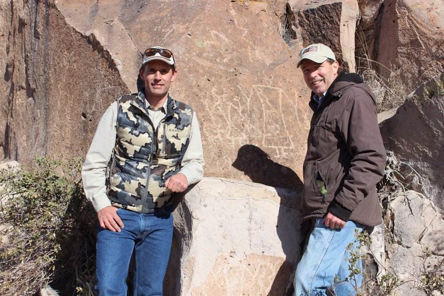 (Courtesy Photo) U.S. Sens. Martin Heinrich and Tom Udall hike in the Organ Mountains-Desert Peaks National Monument in 2014. The two senators introduced a bill last week to designate segments of the Gila River and its tributaries as part of the National Wild and Scenic Rivers System.