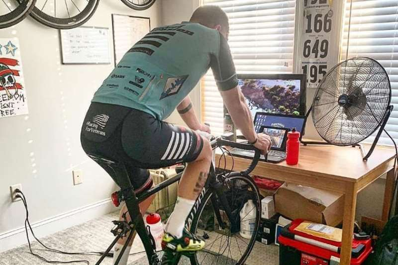 """(Courtesy Photo) A virtual Tour of the Gila will be held this weekend, with a three-day online stage race offered through Project Echelon in collaboration with Zwift Community Live. Above, a rider demonstrates the """"smart trainer"""" used during the races. The real-life Tour of the Gila was canceled this year due to the COVID-19 pandemic, but for cycling fans, the new event will offer a virtual race to watch Friday through Sunday."""