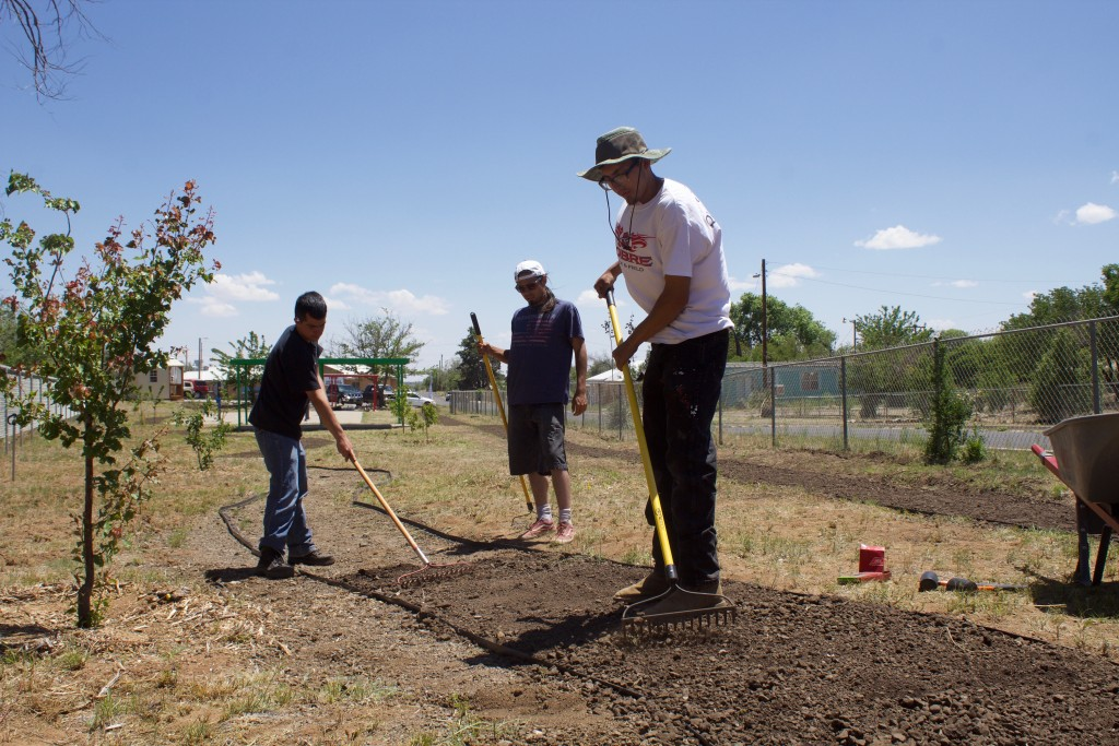 (Press File Photo by C.P. Thompson)  Zyke Arambula, William Helton and Andres Padilla work outside at Central Park near the Santa Clara Senior Center in June of 2019. A new YCC crew is at work on the village's portion of historic Fort Bayard.