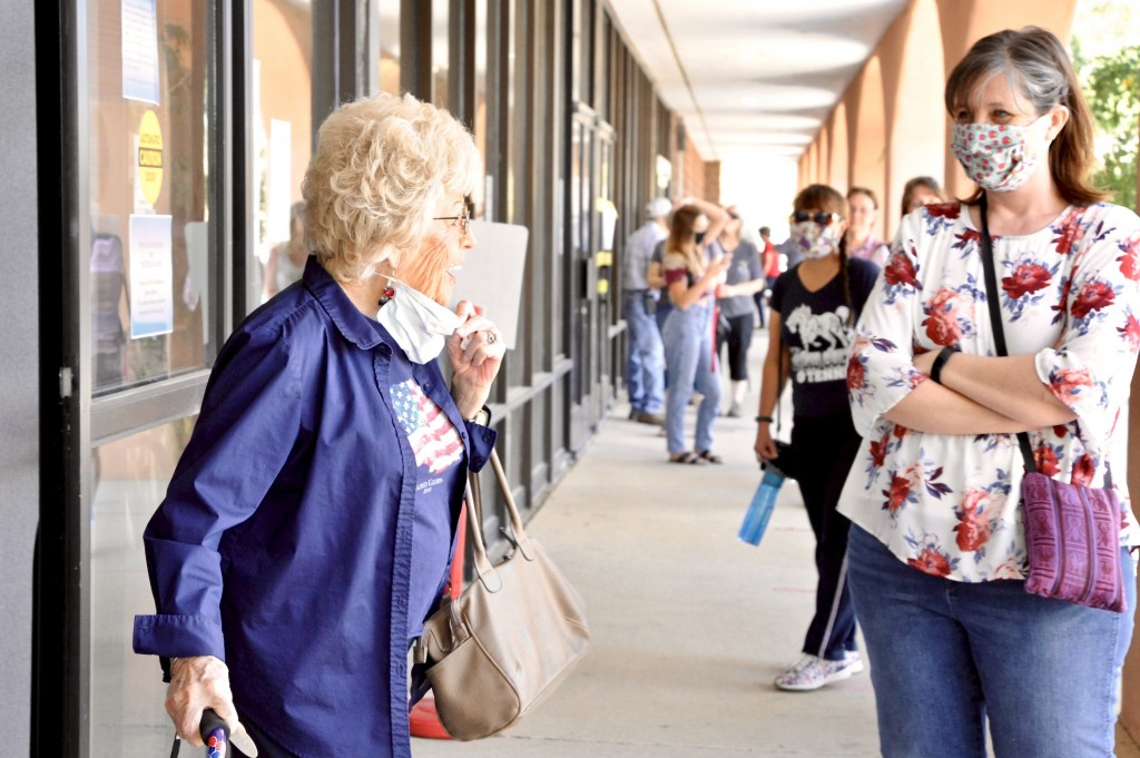 "(Press Staff Photo by Geoffrey Plant)  Born in Clifton, Ariz., in 1927, Tyrone resident Maxine Cotton said she has voted in every election since turning 18 in 1945. The Grant County Clerk's Office arranged a ride for Cotton, who usually votes in Tyrone, so she could cast her ballot Tuesday at the voter convenience center inside the Grant County Administration Building, one of just four polling places in the county. ""Voting is our chance to put in our two cents — that's our government,"" Cotton said."