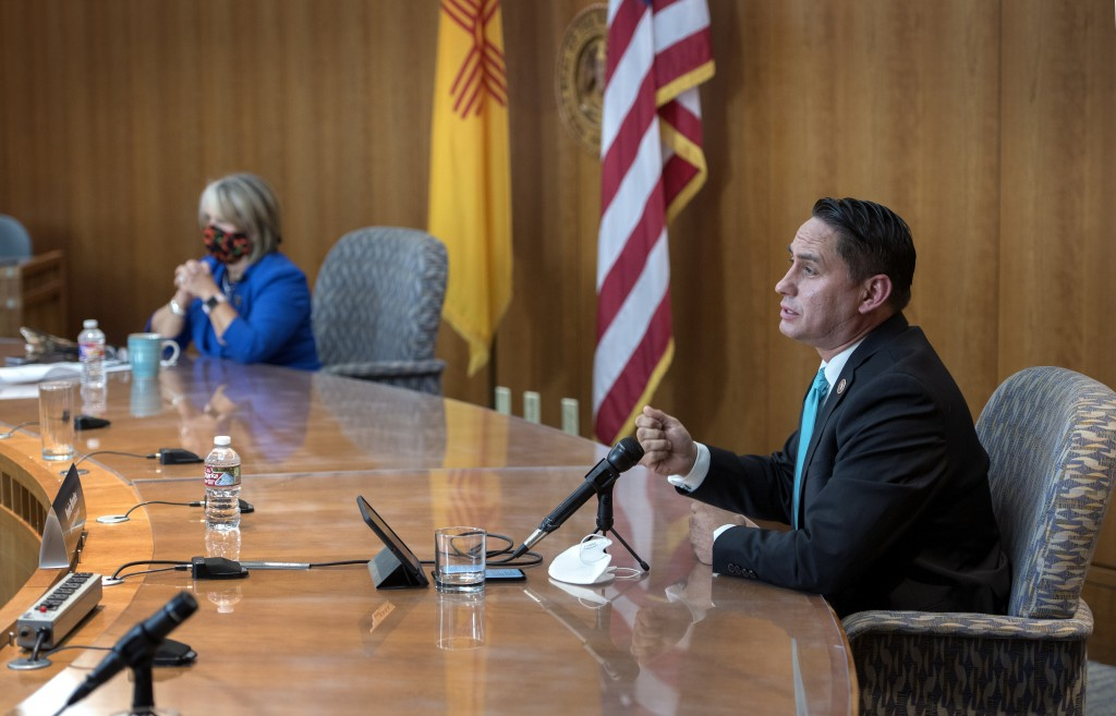 (Eddie Moore/Albuquerque Journal) Gov. Michelle Lujan Grisham, left, and Lt. Gov. Howie Morales hold a news conference about the COVID-19 outbreak in New Mexico and on how students might return to school in the fall. The news conference was held at the State Capitol in Santa Fe on Thursday.