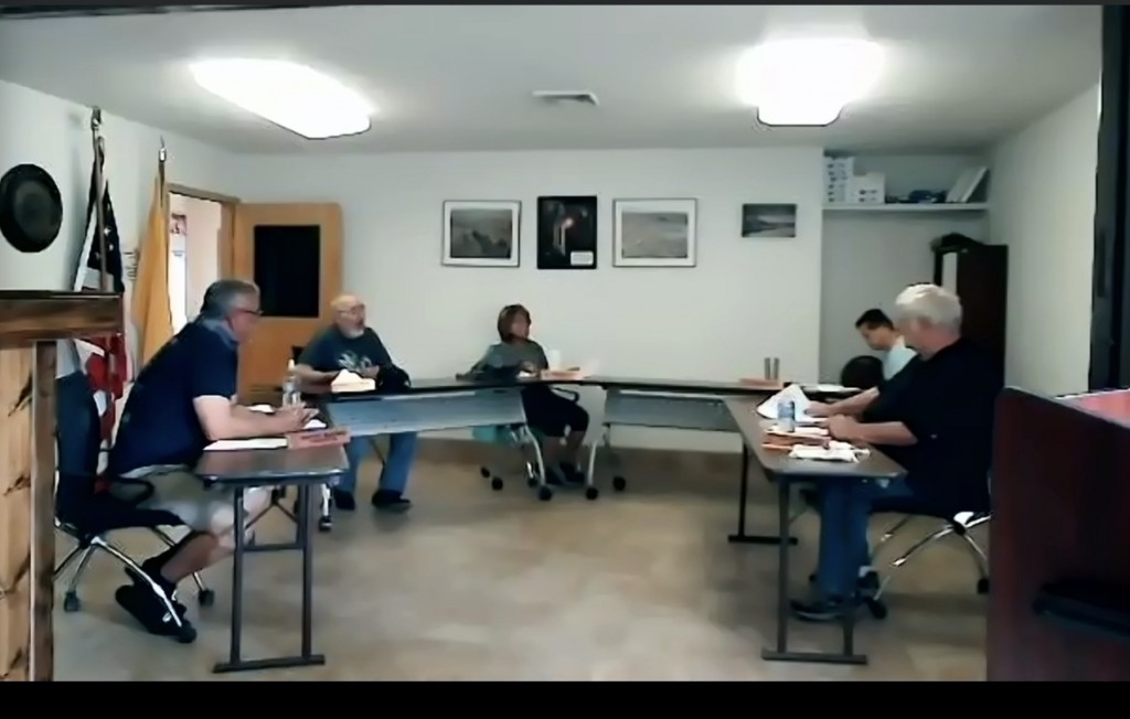 (Press Staff Photo by Geoffrey Plant)  The Hurley Town Council met in person at Town Hall on Tuesday evening to discuss its budget, livestreaming the workshop to the public via Zoom.